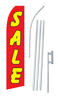 Sale Advertising Banner Flag Complete Tall Sign Kit 2.5 Wide Red Yellow