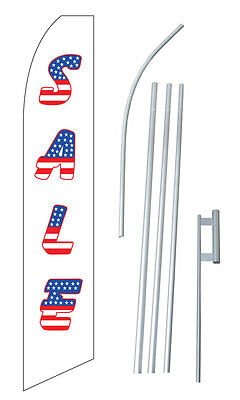 Sale Usa Tall Advertising Banner Flag Complete Sign Kit 2.5 Feet Wide