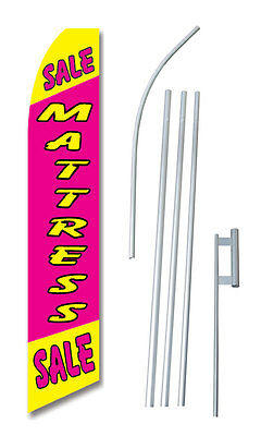 Mattress Sale Pink Tall Advertising Banner Flag Complete Sign Kit 2.5 Feet Wide