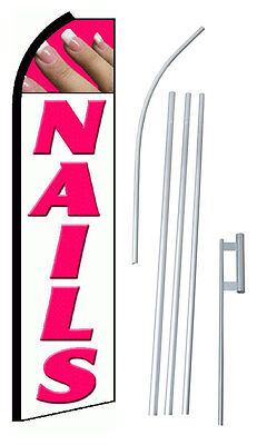 Complete 15 Nails White Kit Swooper Feather Flutter Banner Sign Flag