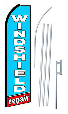 Complete 15 Windshield Repair Letters Kit Swooper Flutter Banner Sign Flag