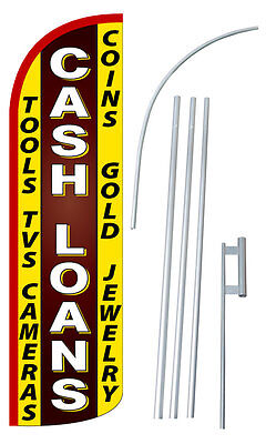 Cash Loans Flag Kit 3  Wide Windless Swooper Feather Advertising Sign