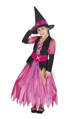 Girls Pretty Pink WItch Costume Child Halloween Fancy - Girls Pretty Witch Kostüme