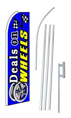 (Deals On Wheels Blue Extra Wide Swooper Flag Bundle)