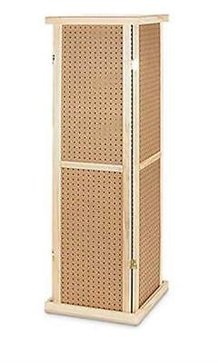 AYS Retail 4 Sided 5' Tall Rotating Pegboard Tower Display Rack (Wood)