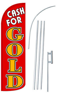 Cash For Gold Flag Kit 3 Wide Windless Swooper Feather Advertising Sign