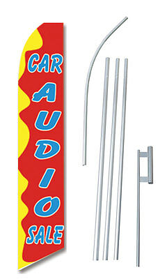Car Audio Sale   Tall Advertising Banner Flag Complete Sign Kit 2 5 Feet Wide