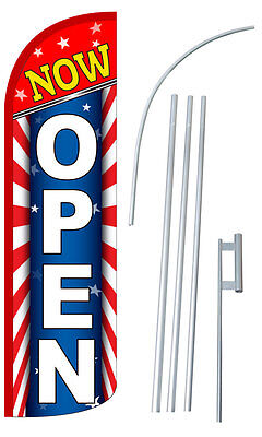Now Open Flag Kit 3 Wide Windless Swooper Feather Advertising Sign Sw10799