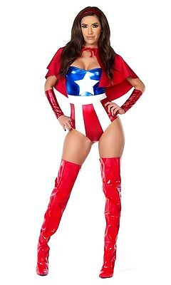 Darling Domination Adult Womens Costume, 555260, Forplay, Captain America - Captain America Costume Adult