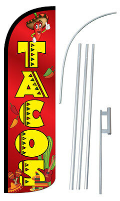 Tacos Flag Kit 3 Wide Windless Swooper Feather Advertising Sign