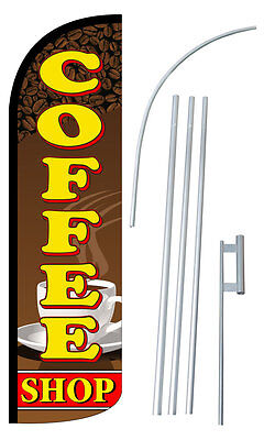 Coffee Shop Flag Kit 3 Wide Windless Swooper Feather Advertising Sign