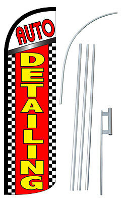 Auto Detailing Flag Kit 3 Wide Windless Swooper Feather Advertising Sign