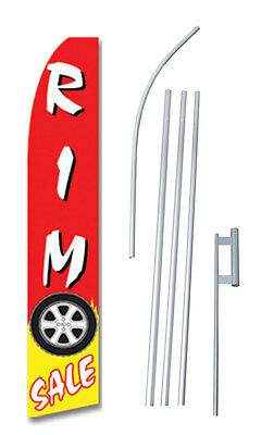Rim Sale Tall Advertising Banner Flag Complete Sign Kit 2.5 Feet Wide