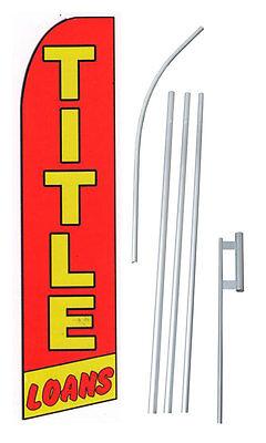 Complete 15 Title Loans Red Kit Swooper Feather Flutter Banner Sign Flag