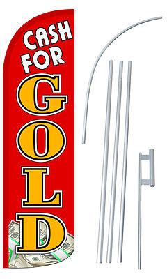 Cash For Gold Red Extra Wide Windless Swooper Flag Bundle