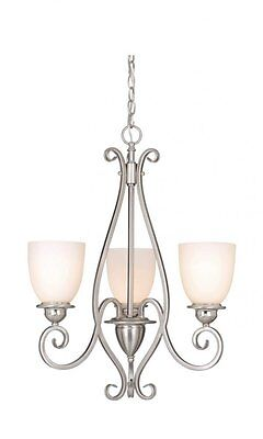 Satin Nickel And Frosted Opal Glass 3 Light Chandelier