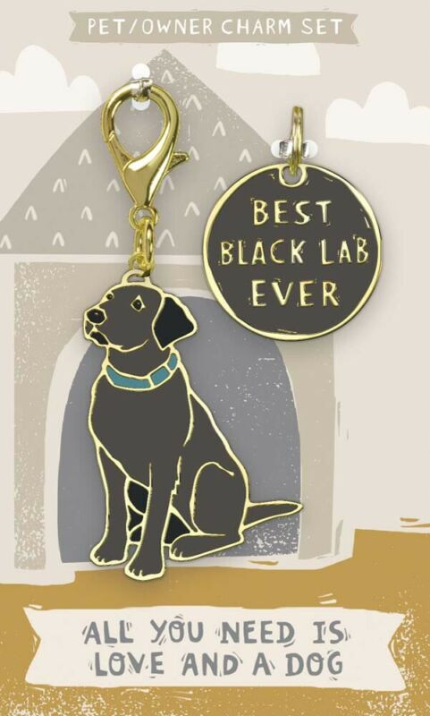 Black Lab Collar Tag and Charm Set