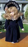 EQUISITE DOLL W/BLONDE HAIR,DARK BLUE VELVET HANDMADE CLOTHES