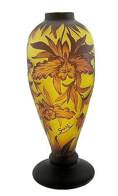 Large Cameo Art Glass Vase with Flower - Signed Galle Tip