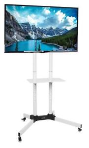 """NEW VIVO White Mobile TV Cart for LCD LED Plasma Flat Panels Stand with Wheels 