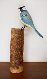Wooden Blue Tit Bird On Branch Carved Ornament by Archipelago