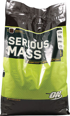 Optimum Nutrition Serious Mass Chocolate 12lb Protein Cre...