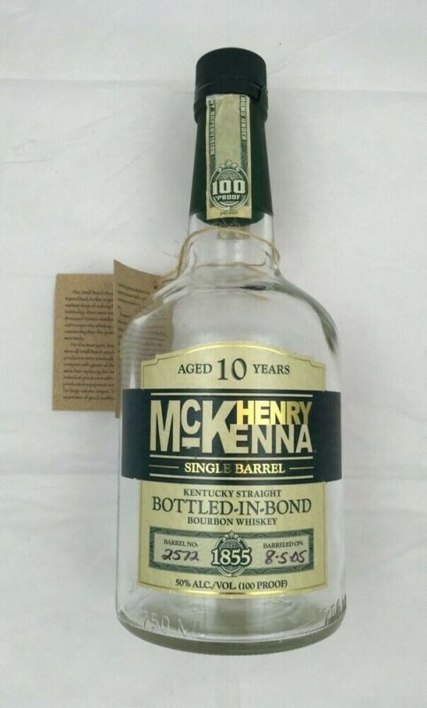 """1 HENRY McKENNA 10 YR OLD KENTUCKY BOURBON BOTTLE """"EMPTY"""" With HANG TAG"""