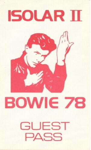DAVID BOWIE 1978 ISOLAR II CONCERT TOUR BACKSTAGE GUEST PASS / NMT 2 MINT