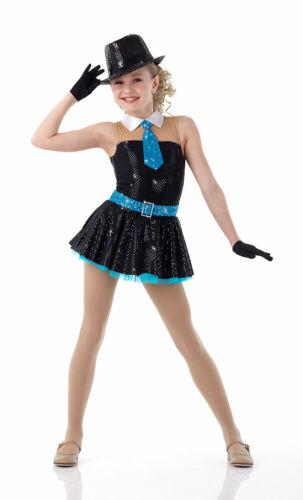 Child XS Christmas Rockette Jazz Dance Costume Dress Blue