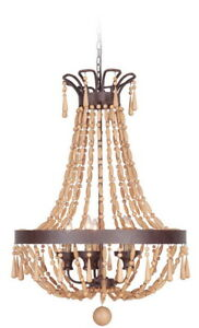 Wooden bead chandelier ebay craftmade berkshire 9 light aged bronze chandelier with unfinished wood beads mozeypictures Choice Image