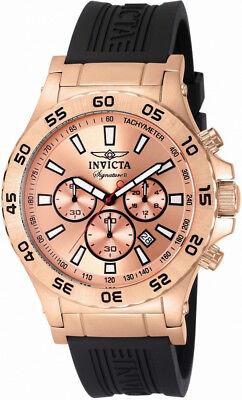 Invicta Signature II 7445 Men Round Rose Gold Tone Chronograph Date Analog Watch