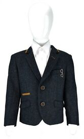 Boys Kids Slim Fit Smart Casual Blue Stretch Blazer Designer Style Elbow Patch Jacket
