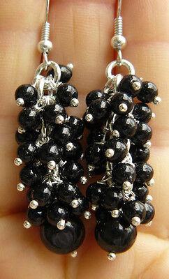 "Black Onyx  Gemstone Earrings Dangle Beaded Cluster 2 1/4"" long"
