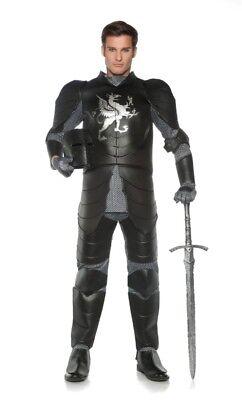 Black Knight Costume Medieval Renaissance Prince Adult Mens Plus Size - Medieval Black Knight Kostüm