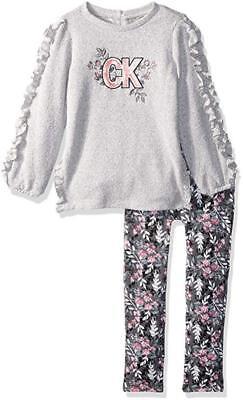 Calvin Klein Infant Girls Gray Sweater 2pc Legging Set Size