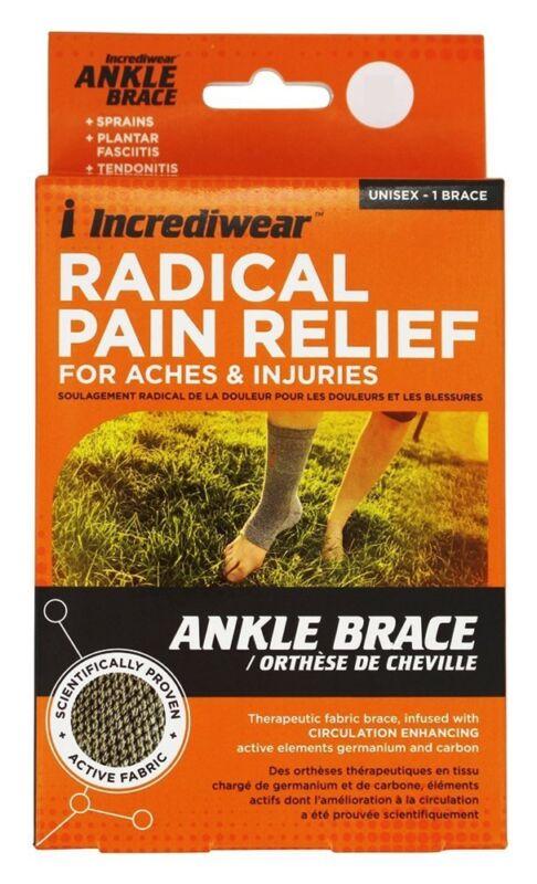 Incrediwear Radical Pain Relief Ankle Brace Unisex Sml/Med Men 4-8.5,Women 5-9.5