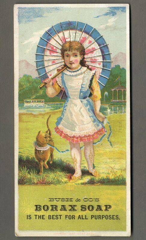 BORAX SOAP Victorian Trade Card Little Cat and GIRL 1880s Bush & Co PHILADELPHIA