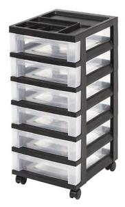 NEW IRIS 6-Drawer Rolling Storage Cart with Organizer Top, Black Condition: New, one corner damaged.
