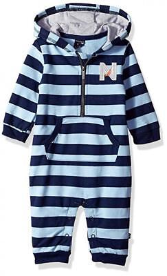 Nautica Infant Boys Blue Striped Hooded Coverall Size 0/3M 3/6M 6/9M 12M 18M 24M