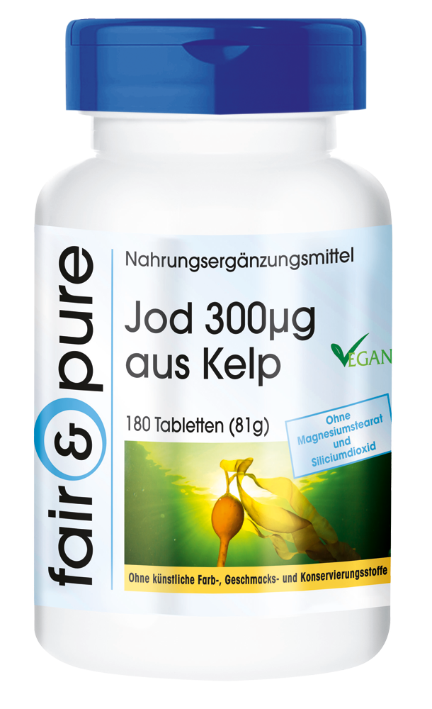 Jod 300µg aus Kelp 180 Tabletten - fair & pure