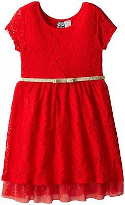 Pogo Club Big Girls Red Lace Dress W Belt Size 7 8  44