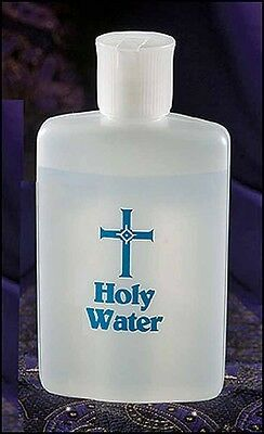 Holy Water Bottle 4 Ounces Blue Lettering NEW (10190)