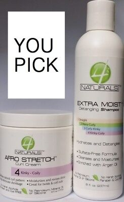 (4 Naturals Extra Moist Detalgling Shampoo 8 oz / Afro Stretch Curl Cream 6 oz)