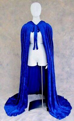 Unlined Blue Crushed Velvet Renaissance Cloak Cape Wedding Wicca Medieval LARP