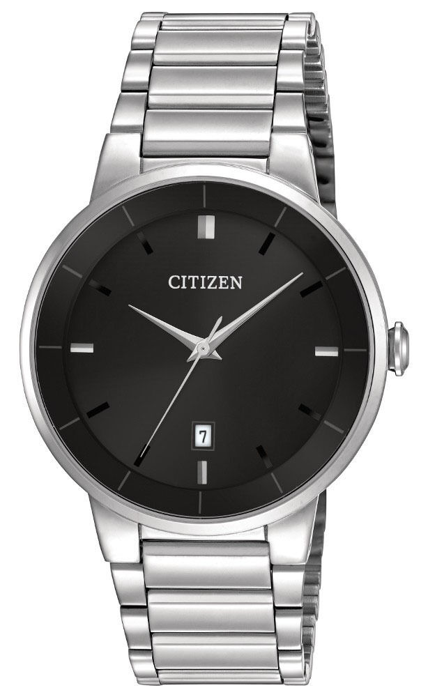 Citizen BI5010 59E Men\s Quartz Stainless Steel Black Dial 3 Hand Dress Watch