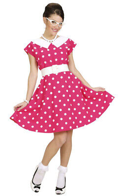 Fifties Kostüm für Damen - Pink - 50er Jahre Kleid mit Punkten Karneval %SALE% (50er Jahre Pink)