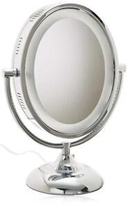 Jerdon HL958C 8-Inch Tabletop Two-Sided Swivel Oval Halo Lighted Vanity Mirror with 8x Magnification, 13.75-Inch Heig...