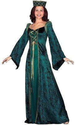 Damen-Grün Mittelalterlich Damen Renaissance Volle Länge Kostüm Kleid Outfit (Alte Dame Outfits)