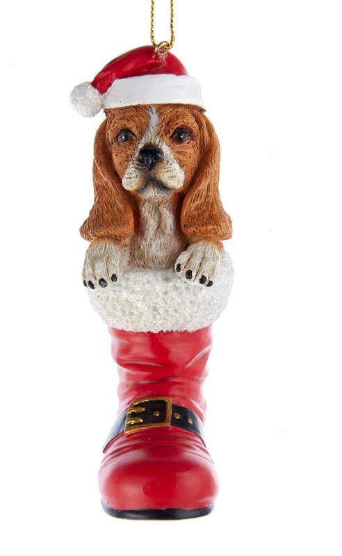Basset Hound Santa Boot Ornament