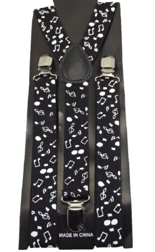 New Back And White Music Notes Elastic Adjustable Clips-on Suspenders